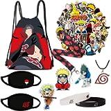 Naruto Set,Drawstring Bag,50 Stickers,3 Button Pins,1 Phone Holder,Necklace,2 Bracelet
