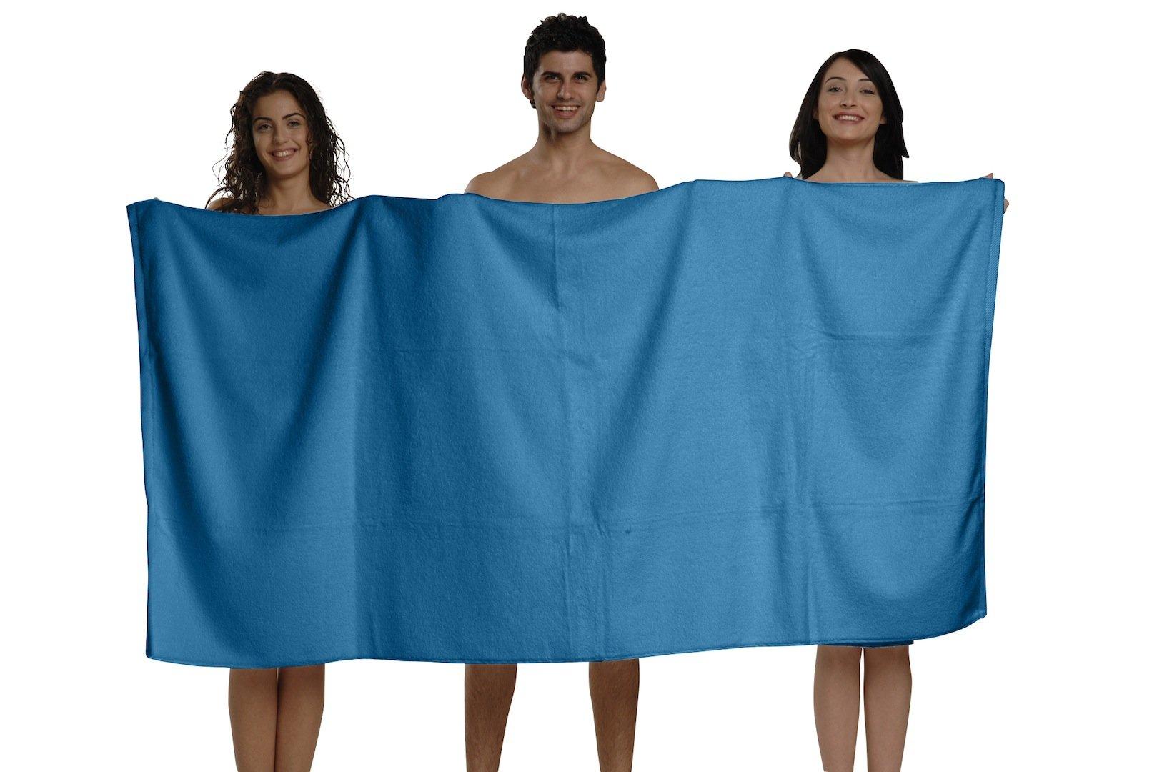 BUNDLE OF 6, 40''x80'', Turkish Spa Bath Sheet, 660 GSM. (BODRUM BLUE) by THIRSTY (Image #2)