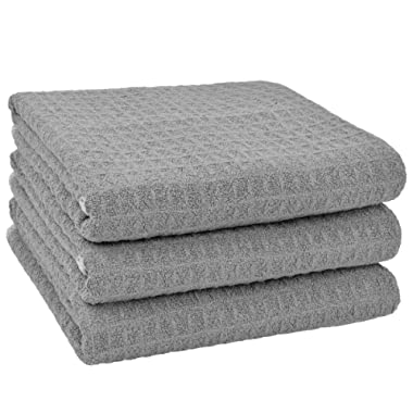 SINLAND Microfiber Dish Towel Kitchen Drying Towels Waffle Weave Hand Towel 3 Pack 16inch X 24inch Grey