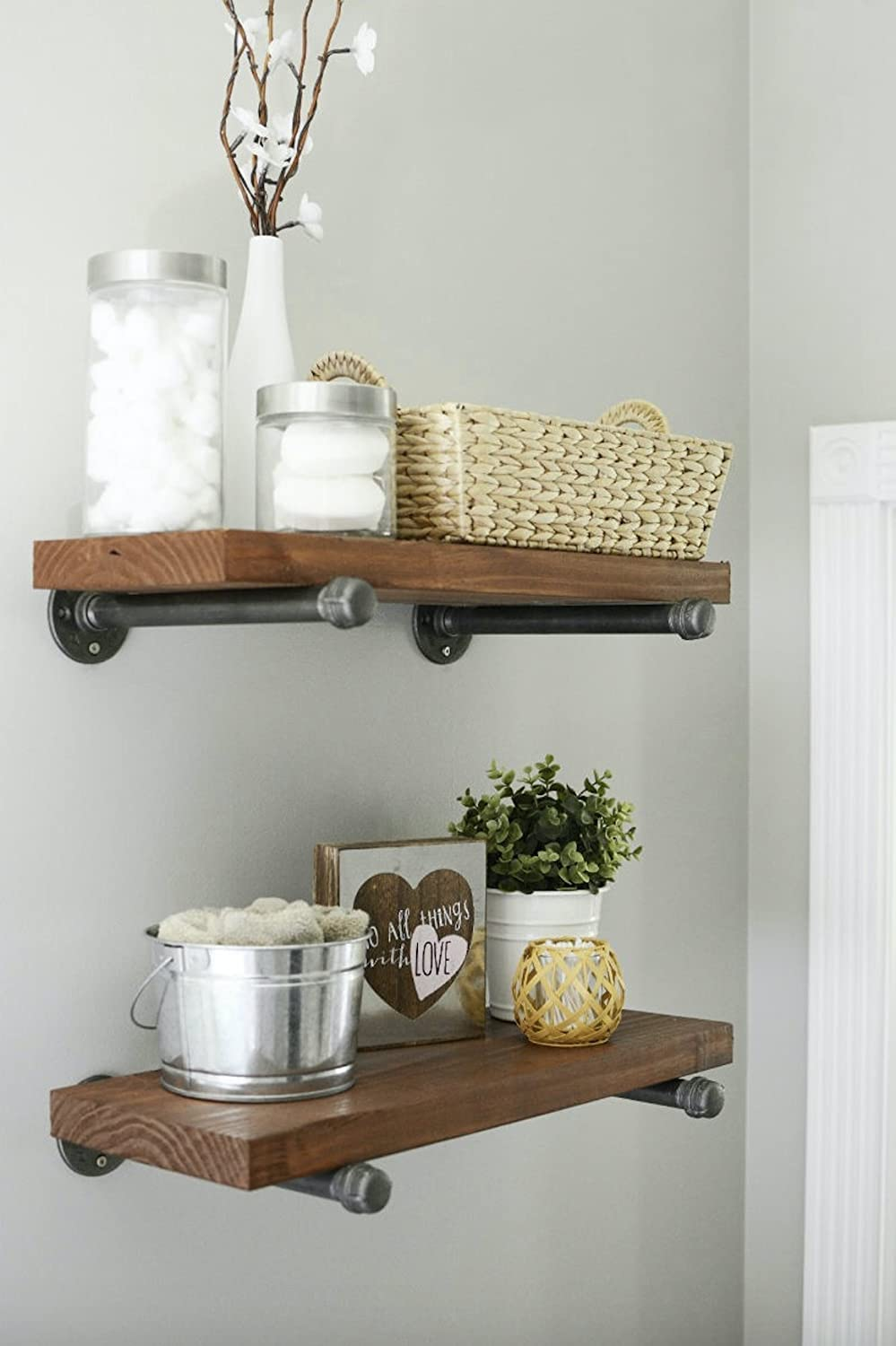 DIY Rustic//Chic and Vintage Decor Floating Shelves Complete Display Set /½ Inch Flange NODNAL Co. 10 Inch 4 Pack 10 Iron Pipe Shelf Mounting Brackets Industrial Black Steel Iron Straight Shelves