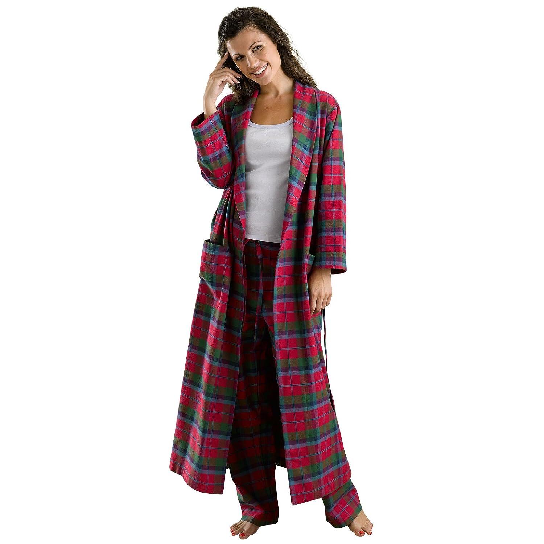 The Irish Linen Store Heather Brushed Cotton Robe Medium Red Tartan ...