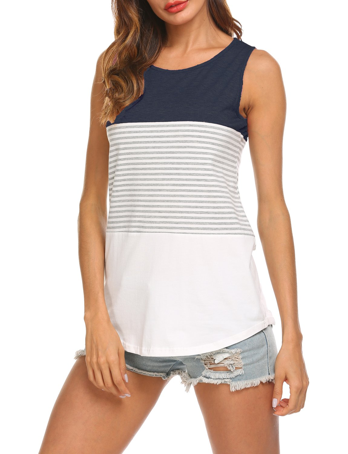 Hount Woman's Casual Round Neck Sleeveless Striped Summer Tank Tops (Navy Blue, L)
