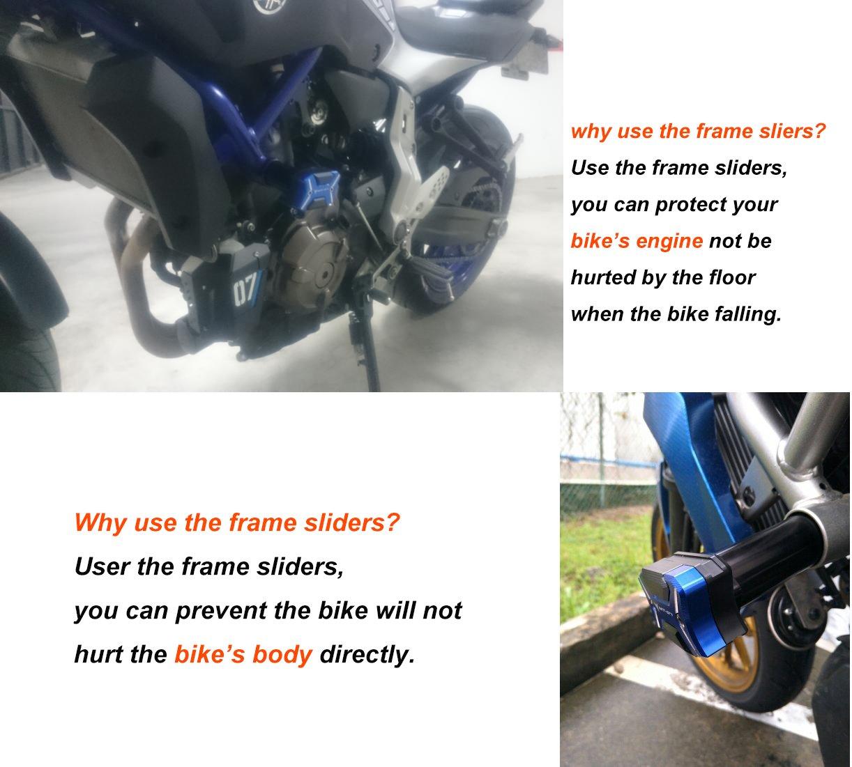 MT-07 Protección Anticaída Frame Sliders Engine Falling Crash Protector Para Yamaha MT07 2013 2014 2015 2016 2017 (Azul): Amazon.es: Coche y moto
