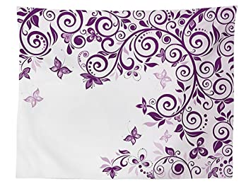 Vipsung Mauve Decor Tischdecke Classic, Ausgeschmückt Twiggy Französischer  Stil Lilium Floral Ast Lovely Wirbelt Decor
