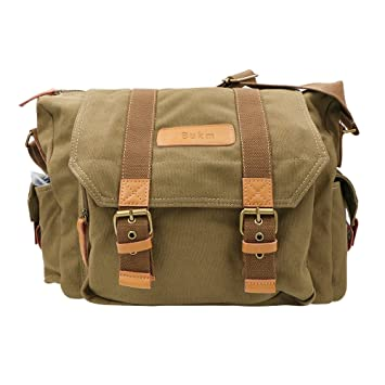 Amazon.com : SLR Camera Bag, Bukm Waterproof Canvas DSLR Messenger ...
