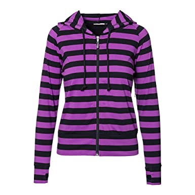 Amazon.com: Womens Banned Black Striped Hoodie (Purple): Clothing