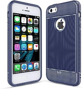 LeYi iPhone SE Case (2016), iPhone 5S Case, iPhone 5 Case, Carbon Fiber Design Slim Soft Feeling Shock-Absorption Anti-Scratch&Fingerprint Full Protective TPU Phone Case for iPhone 5/5s/se ZX Blue