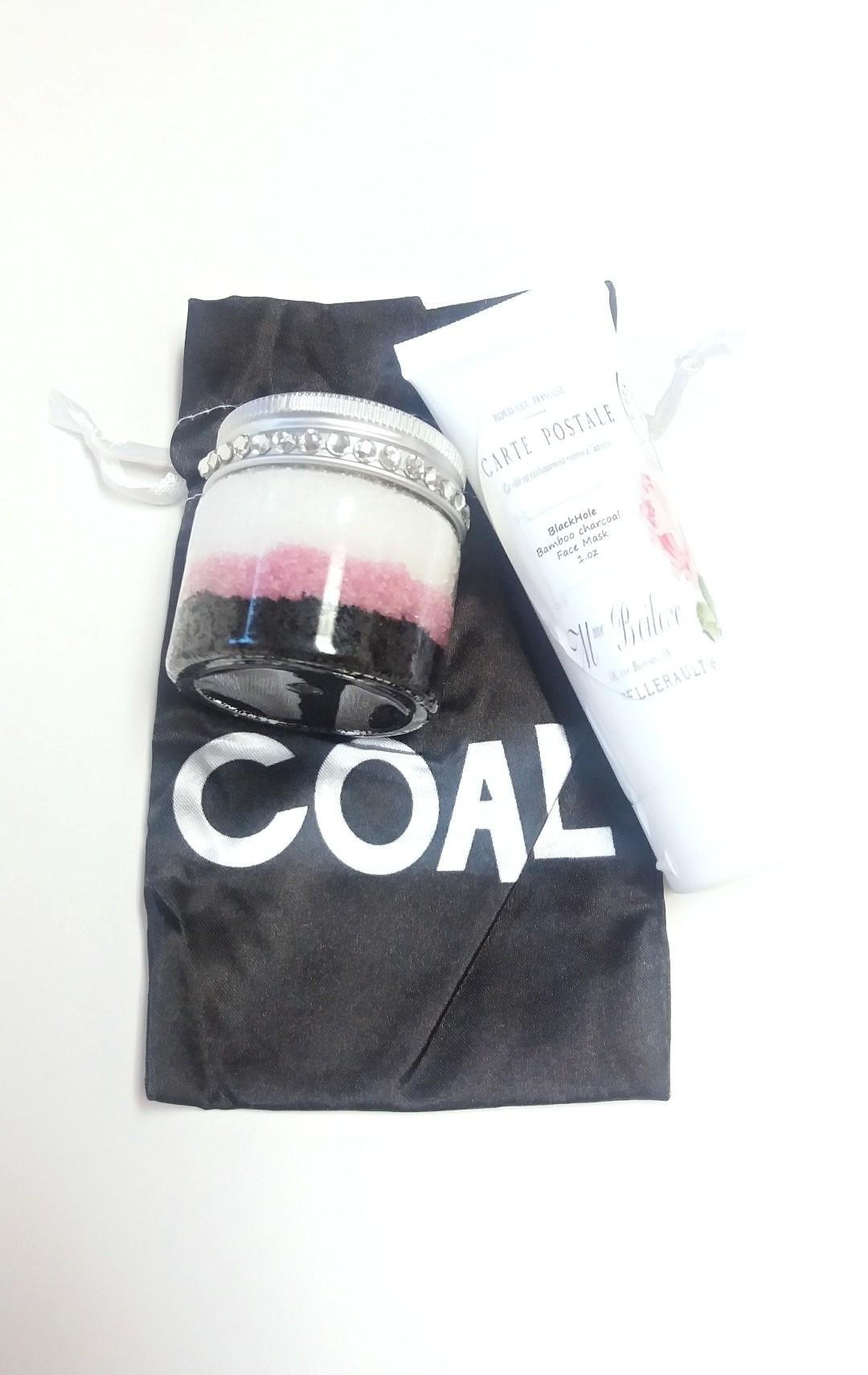 Charcoal face mask, charcoal sugar scrub with coal pouch christmas gift, treatments and masks