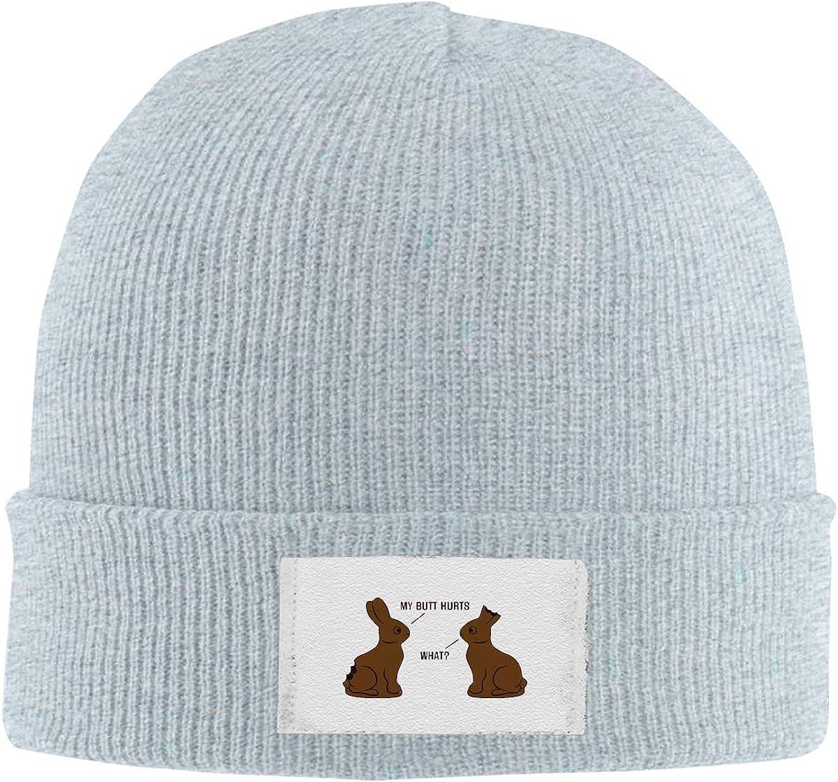 Dunpaiaa Skull Caps My Butt Hurts Winter Warm Knit Hats Stretchy Cuff Beanie Hat Black