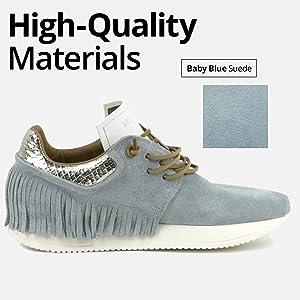 Baby Blue Suede Fringe Sneakers
