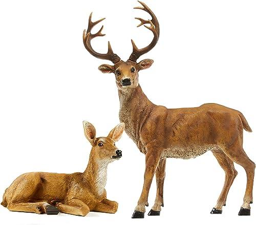 JHVYF 20.5″ H Resin Deer Figurine 8.8″ Doe Statue Figure Buck Garden Decor Indoor Outdoor Home Ornaments Office
