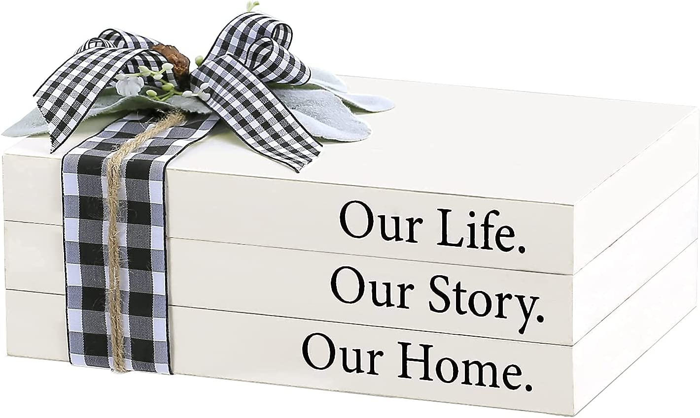 Airrioal Farmhouse Stacked Book Decor,Wooden Decorative White Books-Our Life Our Story Our Home Modern Farmhouse Coffee Table Decor,Bookshelf Tiered Trays Decorations for Living Room Home,Set of 3
