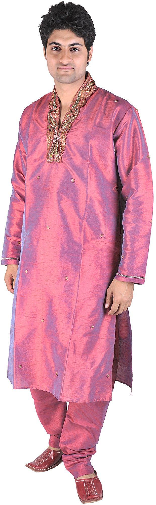 Exotic India Crimson-Red Wedding Kurta Pajama with Sequ Size 40
