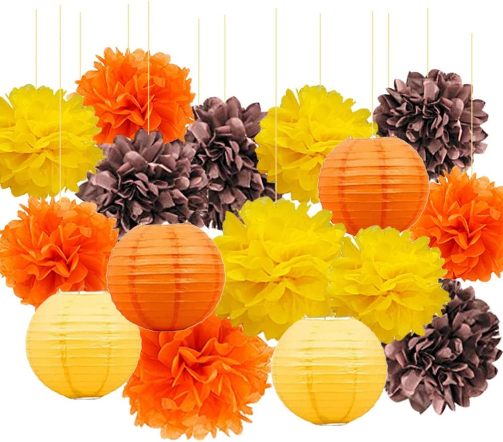 Fall Party Decorations Thanksgiving Decorations Hanging Tissue Paper Pom Poms Mixed Paper Lanterns for Autumn Decorations, Birthday Decorations, Baby Shower, Wedding, Fall Party Supplies