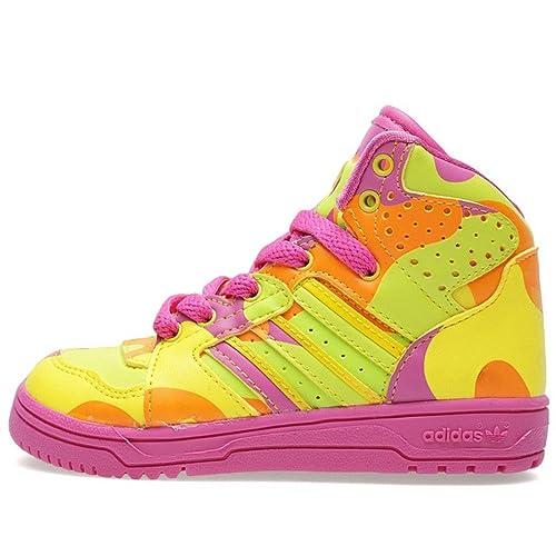 buy online ebb39 c71c9 adidas Originals Jeremy Scott Instinct Hi NeonCamo Kids Sneakers, Size 7.5K