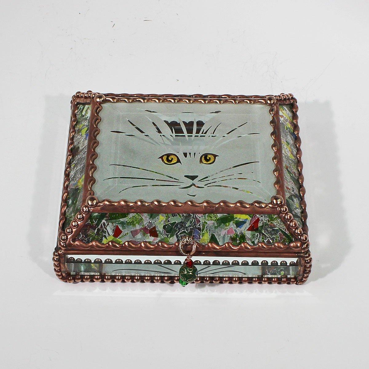 Kitten, Cat Eyes, Stained Glass Jewelry Box, Presentation Box, Keepsake Box, Glass Jewels, Swarovski Crystals, USA Made