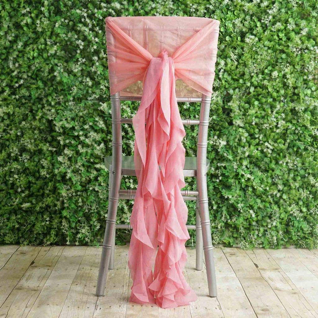 Efavormart 1 Set Rose Quartz Premium Designer Curly Willow Chiffon Chair Sashes for Home Wedding Birthday Party Dance Banquet