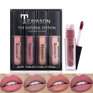 Airassi Matte Liquid Lipstick Set -4 PCS, Waterproof Long-lasting Non-stick Cup, Durable Nude Lip Gloss, Lips Beauty Kit