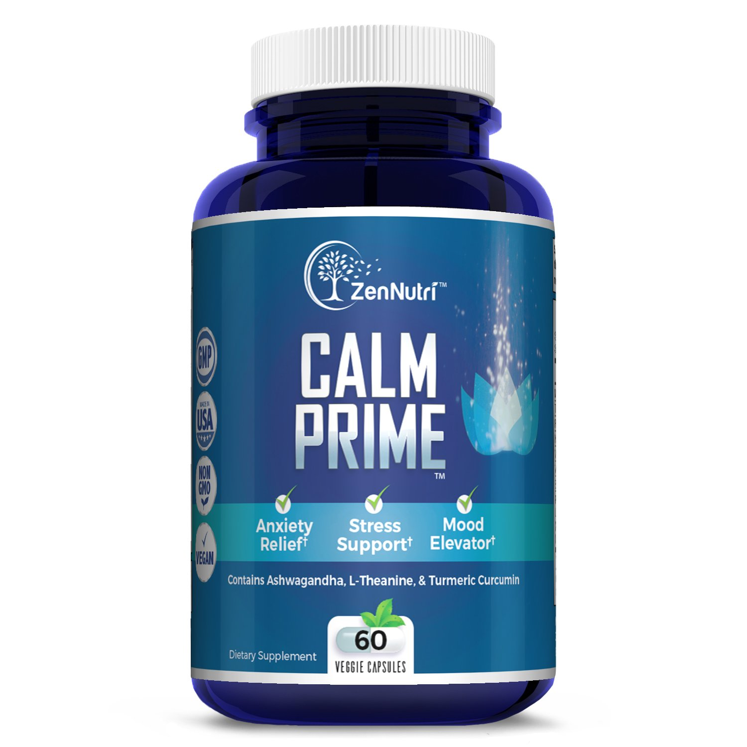 Calm Support, Anti Anxiety, Stress Relief, Mood Enhancer Supplement - Natural Vegan Formula - Premium Calming Ingredients - Magnesium, Ashwagandha, L-Theanine, Turmeric Curcumin and More, 60 Count by ZenNutri