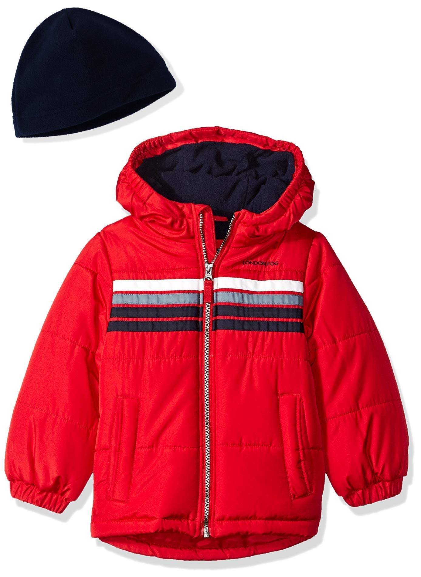 London Fog Boys' Little Heavyweight Puffer Jacket with Beanie, Real red, 5/6