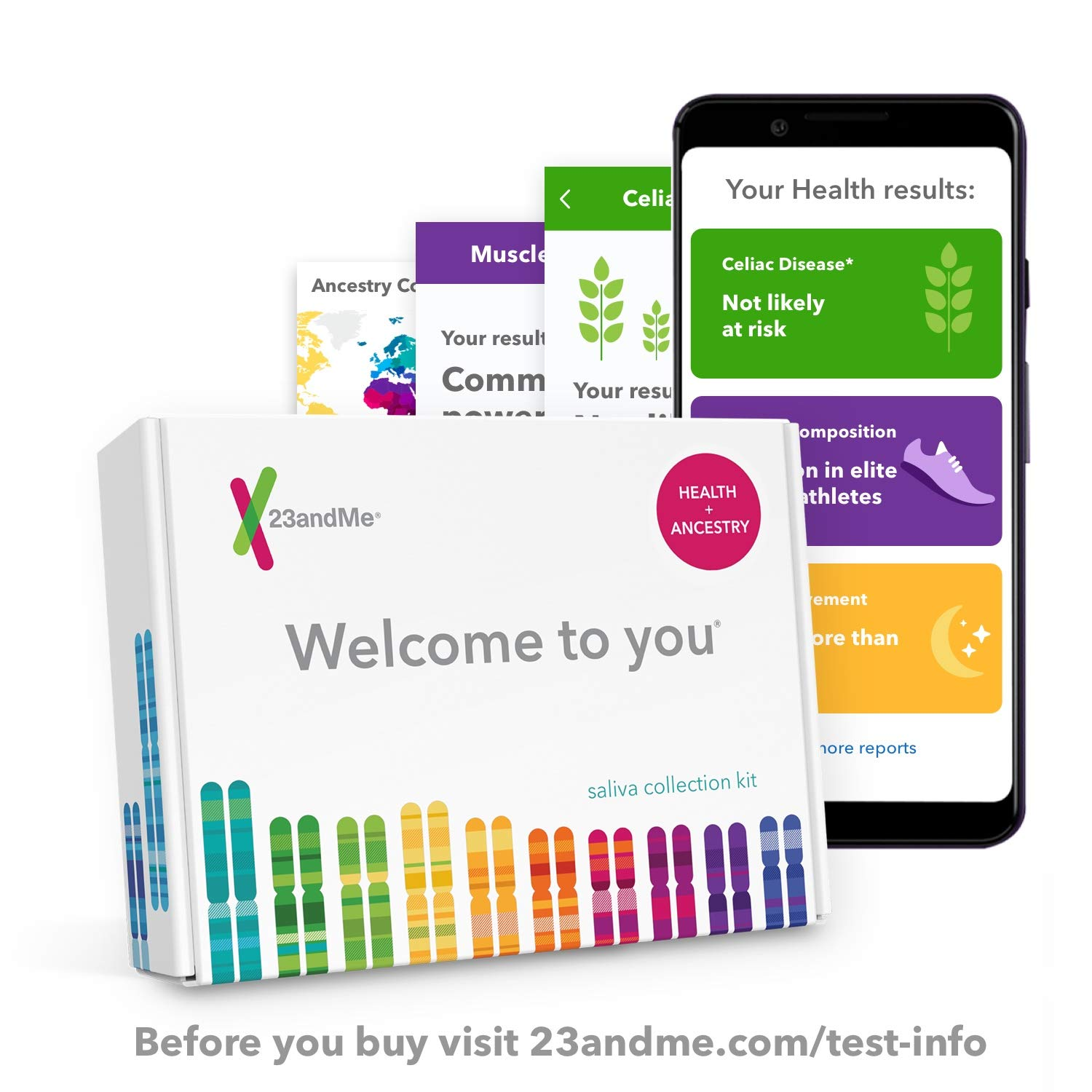 23andMe DNA Test - Health + Ancestry Personal Genetic Service - includes 125+ reports on Health, Wellness, Ancestry & More by 23andMe