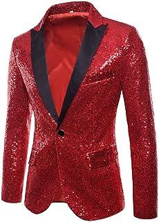 BHYDRY Cappotto Uomo Fascino Casuale Un Bottone Fit Blazer Giacca Paillettes Partito Top BHYDRY Cappotto Nr.1