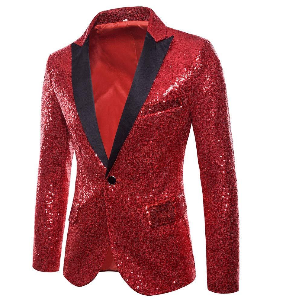 Amazon.com: Fashion Mens Vintage Sequin Sparkle One Button Fit Blazer Suit Coat Jacket Party Club (Gold, S): Kitchen & Dining