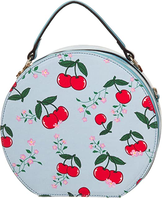 Banned BLINDSIDE Vintage CHERRY Kirschen Round Bag HANDTASCHE - Cartera de mano con asa para mujer
