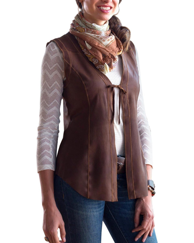 Ryan Michael Women's Ella Tie-Front Reversible Leather Vest Light Brown Medium
