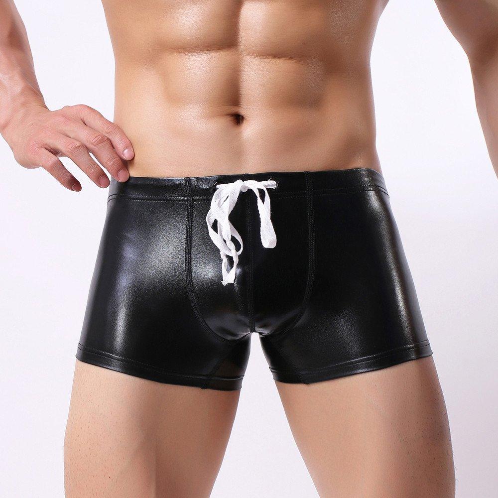 BOOMJIU Sexy Men's Leather Swimming Trunks Beachwear Underwear Surf Boardshorts Black