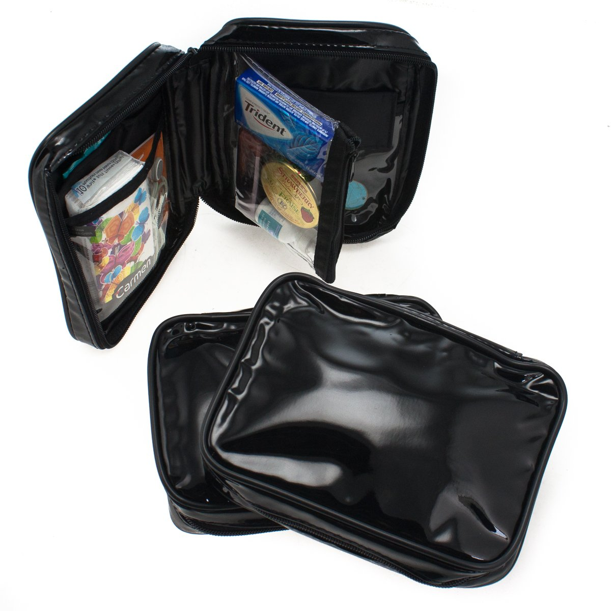 a4d94a7ed1c8 Buy 3 Makeup Bag Set Purse Insert Travel Organizer Clutch Black Faux Patent  Leather Online at Low Prices in India - Amazon.in
