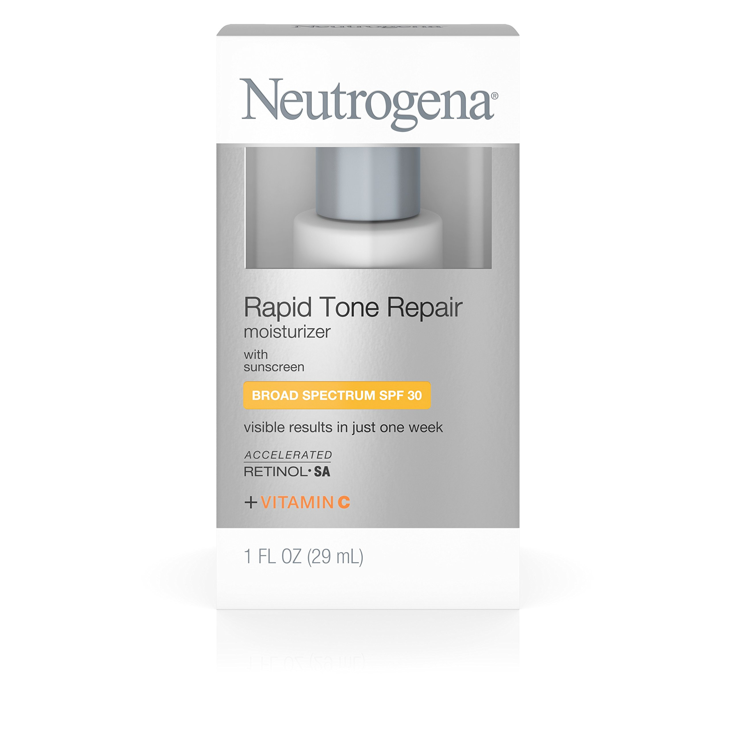 Neutrogena Rapid Tone Repair Daily Facial Moisturizer with Retinol, Vitamin C, Hyaluronic Acid and SPF 30 Sunscreen to Reduce the Look of Dark Spots and Even Skin Tone, 1 fl. oz