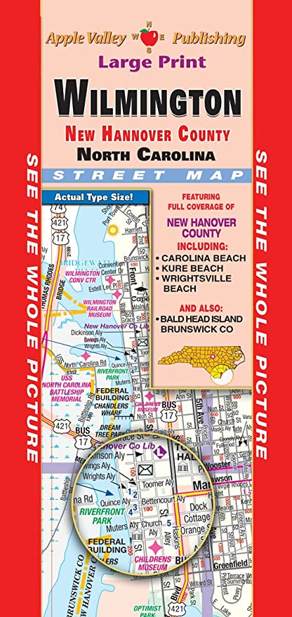 Amazon Com Wilmington New Hanover County Nc Fold Map Office Products