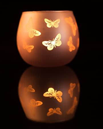 Mercury Glass Votive Candle Holders Glass Decoration Tealight Holders With Butterfly Carving For Home Decor