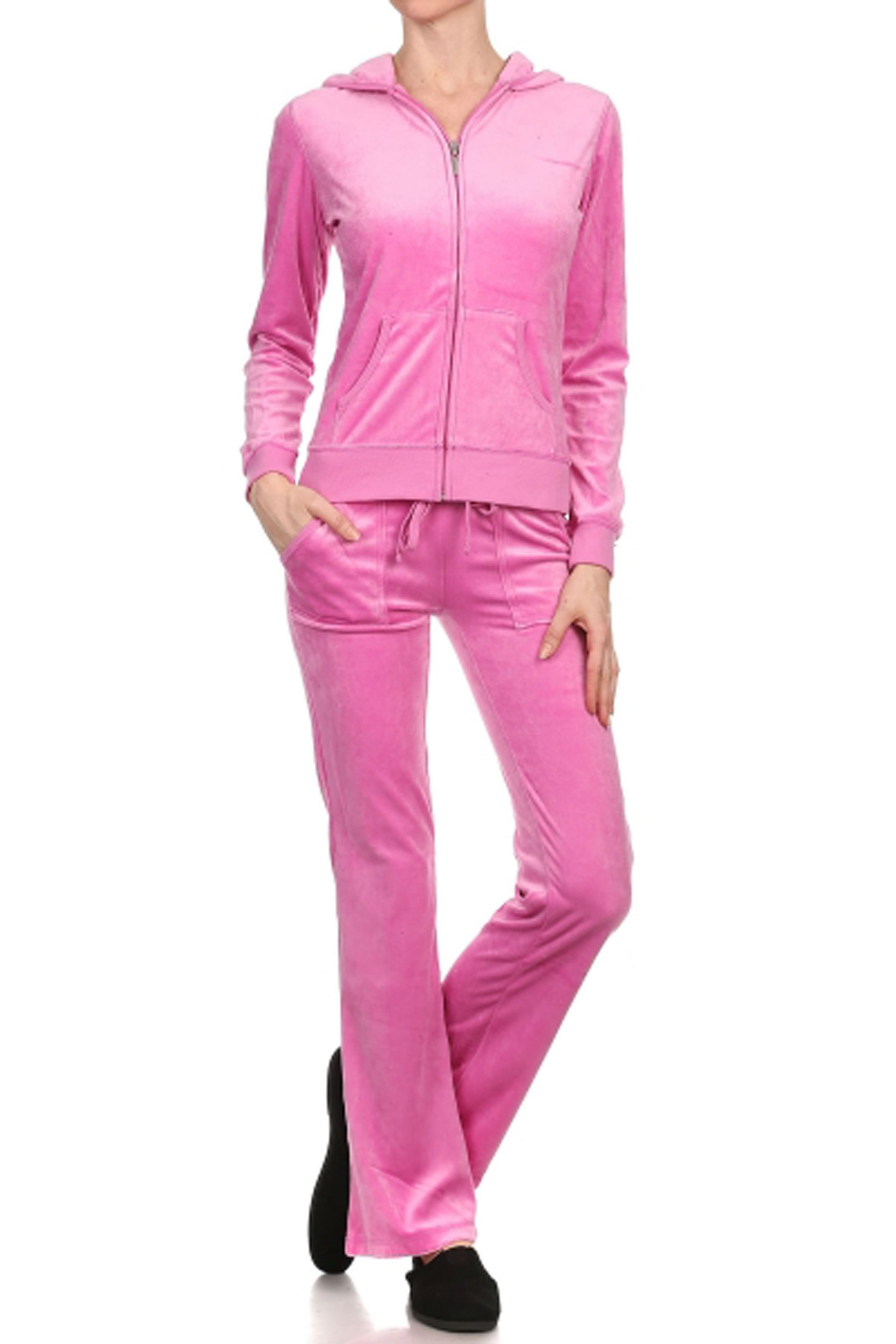 ViiViiKay Women's Soft Velour Tracksuit Athletic Zip Up Hoodie & Sweat Pants Set 001_PINK M