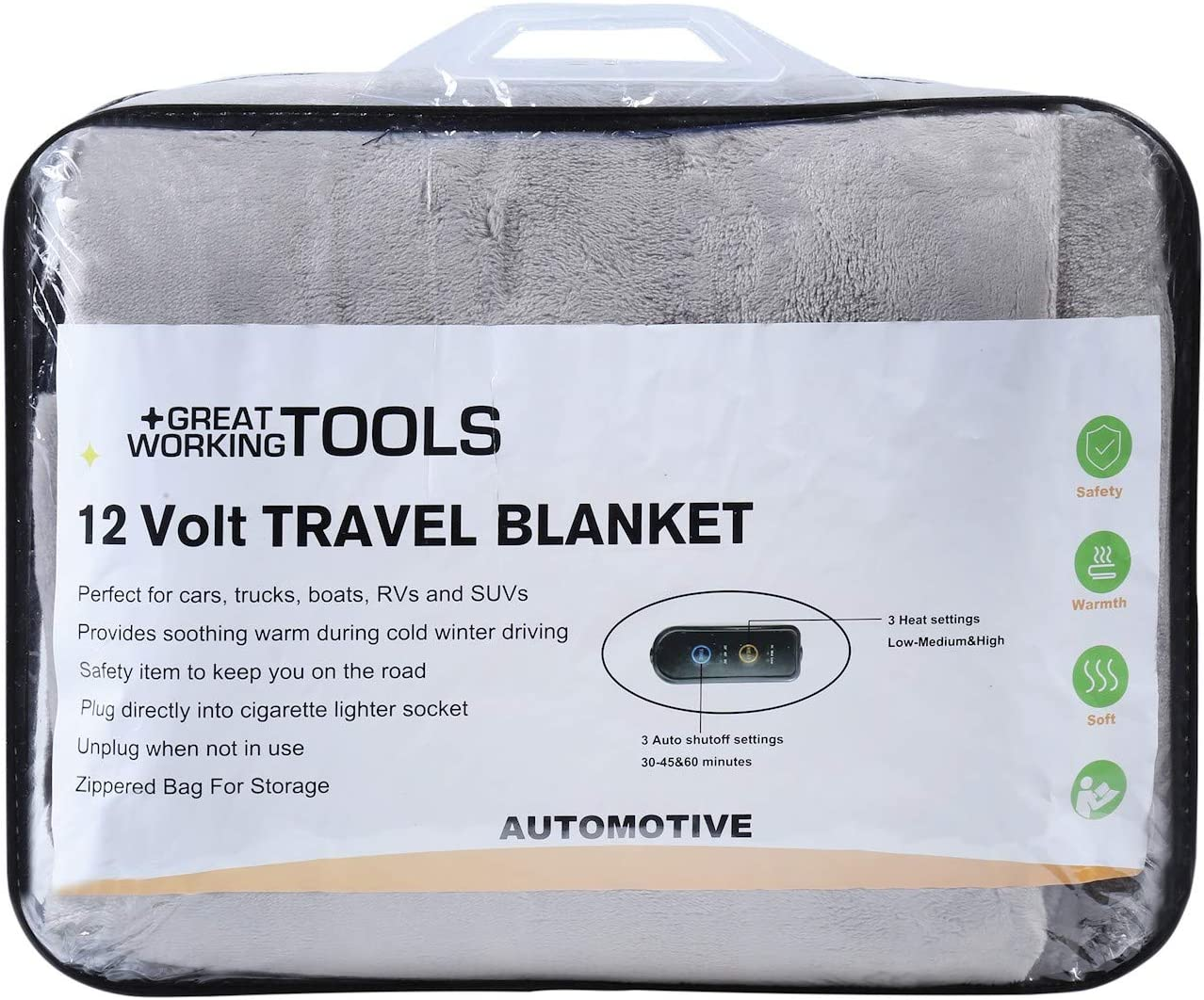 Auto Shutoff Washable Long 8 Cord Plugs into Cars 12v Outlet 55 X 40 Great Working Tools Heated Electric Car Blanket Blue 3 Heat Settings Blue