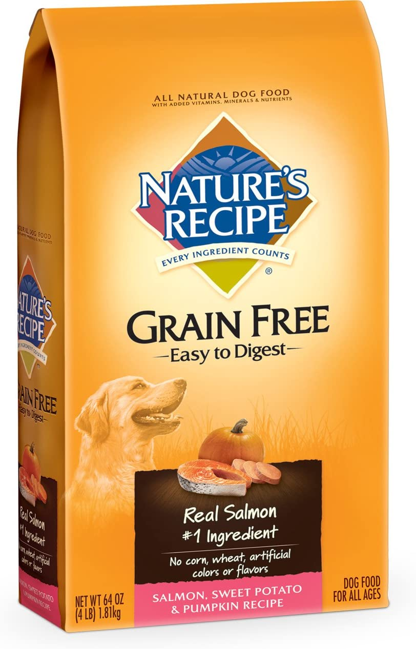 NATURE'S RECIPE 799726 5-Pack Grain Free Salmon Dry For Dog, 4-Pound
