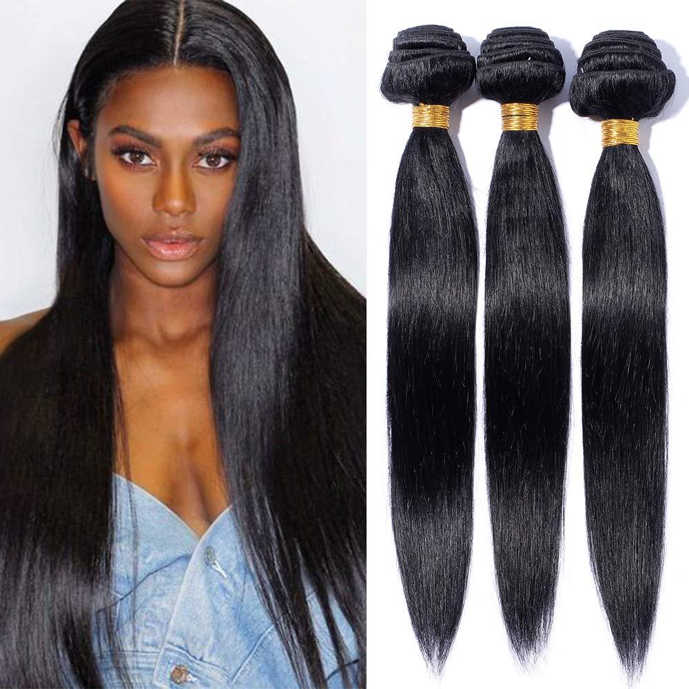 Tissage Bresilien en Lot 3 Mèche Bresilienne Lisse Pas Cher - Extension Cheveux Naturel Noir - Grade 7A Brazilian Virgin Human Hair Extensions Longueur Mixte - 141618 Elailite