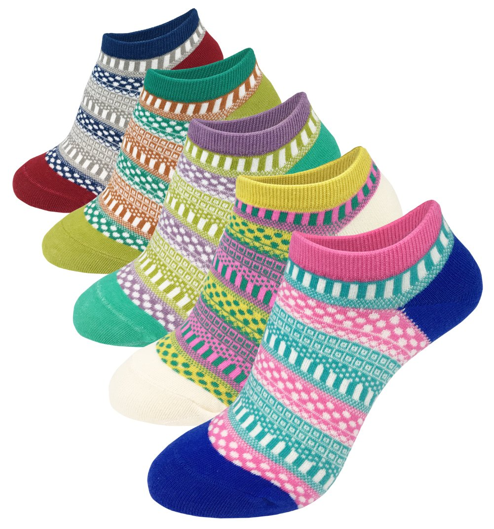 Women's No Show Socks Coloured Vintage Style Cotton Low Cut Ankle Casual Socks  Pack 4 5   5 pairs vintage   Womens Shoe Size 6-10