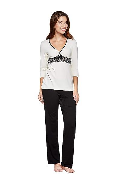 Donna - Pijama de dormir de viscosa, con espectacular bordado bajo el pecho en estupenda