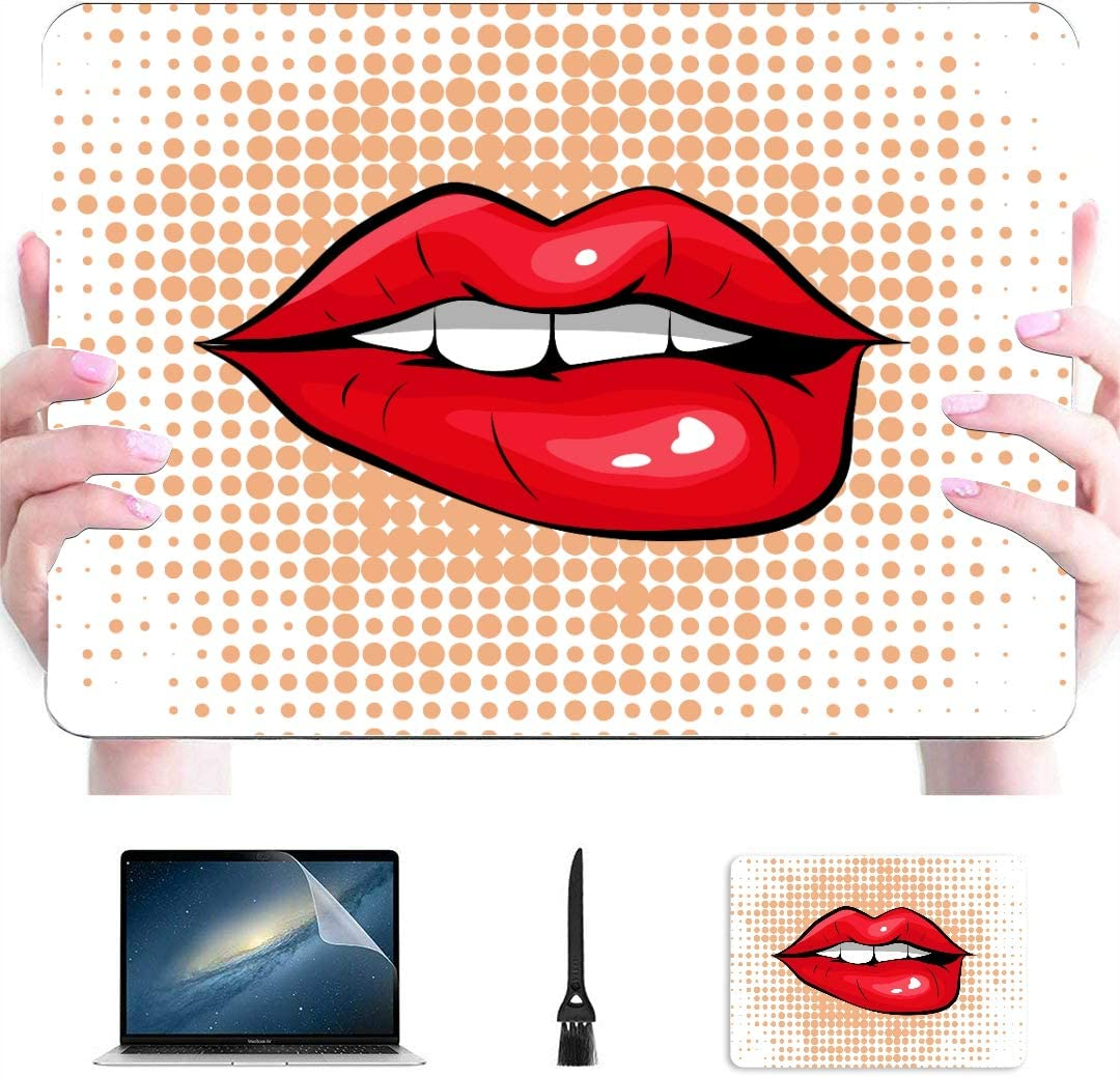 A1466 MacBook Air Case Pop Art Colorful Design Biting Her Red Lips Plastic Hard Shell Compatible Mac Mac Cases Protection Accessories for MacBook with Mouse Pad