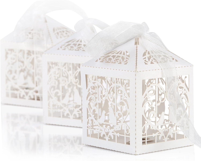 Naler Caja de Regalo de Boda (50 Unidades, Caja de Regalo de Caramelos, Caja de Papel para Regalo de Boda, Regalo de Fiesta, Envoltorio con Cinta), Color Blanco