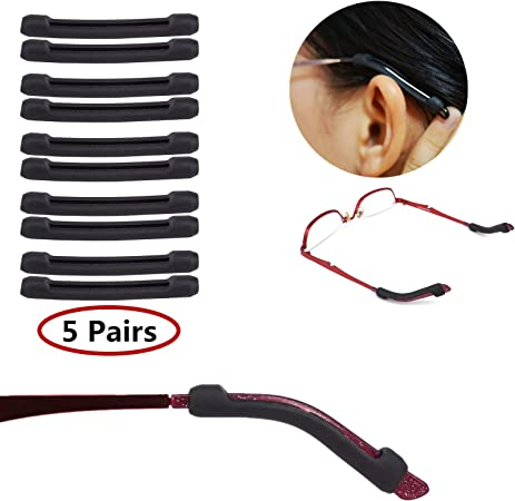 Black /&Clear YR Anti-Slip Eyeglasses Temple Tips Sleeve Retainer 10 Pairs Elastic Soft Silicone Comfort Glasses Retainers For Sunglasses Reading Glasses Eyewear