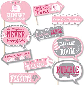 Funny Pink Elephant - Girl Baby Shower or Birthday Party Photo Booth Props Kit - 10 Piece