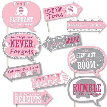 Divertido elefante rosa - Niña bebé ducha o fiesta de cumpleaños Kit de fotos boda Props - 10 piezas: Amazon.es: Hogar