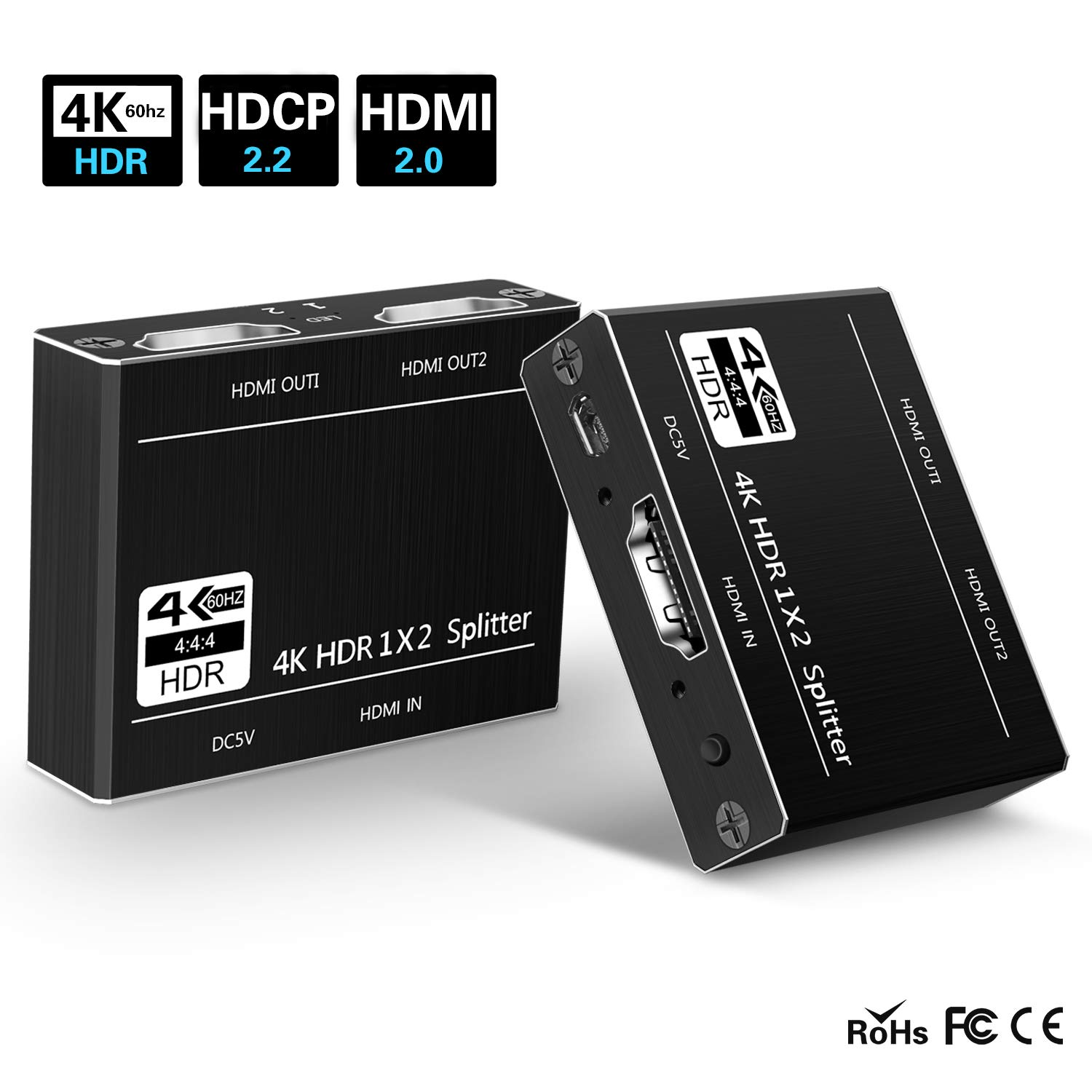 SOWTECH HDMI 2.0 Splitter Powered 1 in 2 Out HDMI Splitter 2160P 4Kx2K@60Hz RGB/HDCP 2.2 / 3D and HDR for Dual Monitor Duplicating Video and Audio by SOWTECH (Image #1)