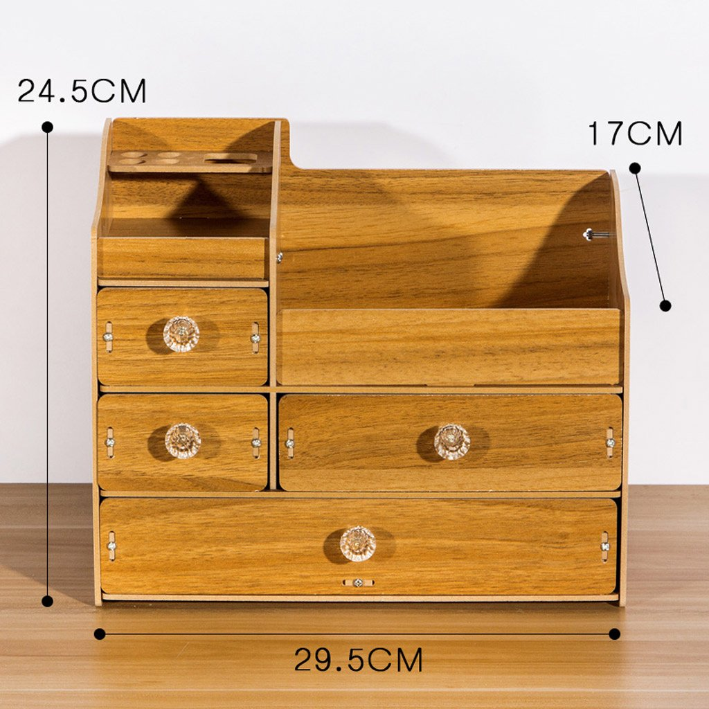 Cosmetic Storage Box,DIY Wooden Desktop Drawer Type Storage Shelf Dressing Table Finishing Box (Color : Dark wood color) by SUN (Image #1)