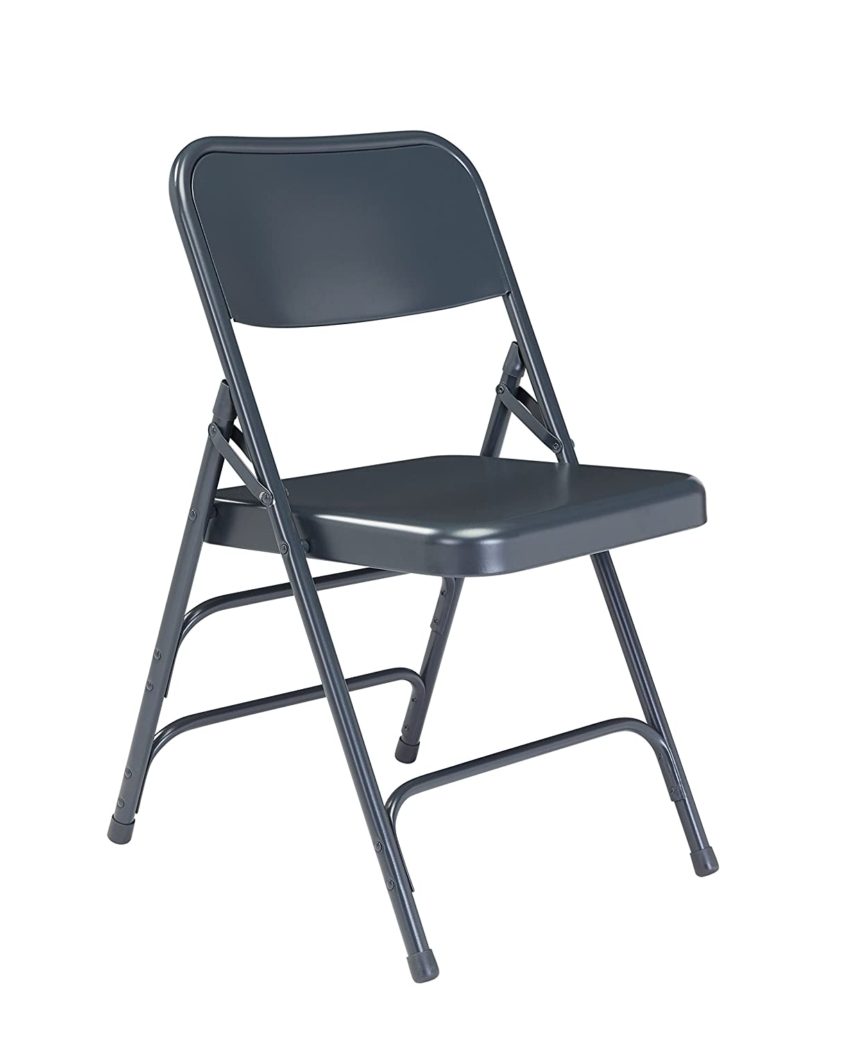 National Public Seating 300 Series All Steel Premium Folding Chair with Triple Brace, 480-Pound Capacity, Char-Blue, Carton of 4 304