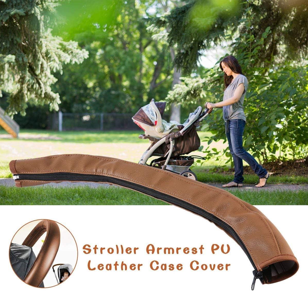 brun Accessoires de landau pour b/éb/é poussette accoudoir en cuir PU Housse de protection pour bras couvre poign/ées fauteuils roulants