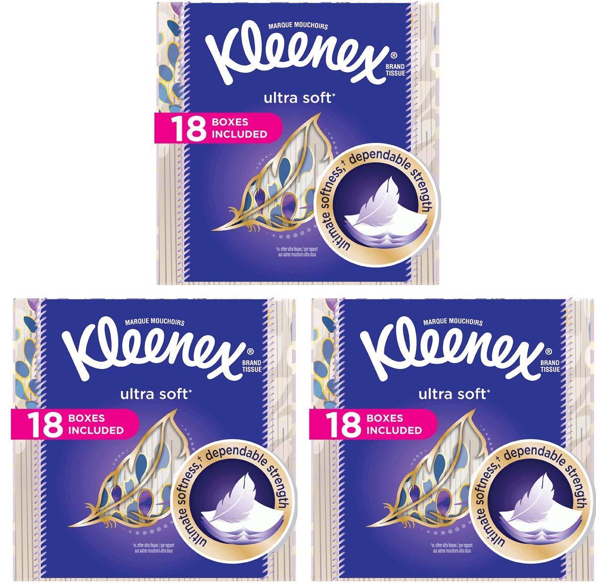 Kleenex asdaSs Ultra Soft Facial Tissues, 75 Tissues per Cube Box, 54 Boxes, 75 Tissues/Box